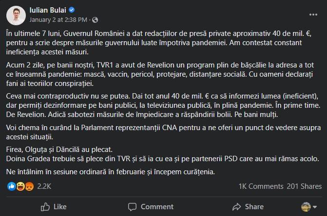 iulian bulai, facebook